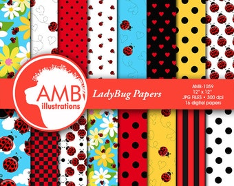 Ladybug digital papers, Red ladybug papers, Insects, pretty little ladybug scrapbook papers, commercial use, AMB-1059