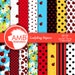 80%OFF Ladybug digital papers, Red ladybug papers, Insects, pretty little ladybug scrapbook papers, commercial use, AMB-1059