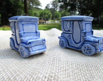 Vintage Blue Ceramic Car Salt and Pepper Shakers