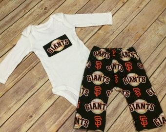 Handmade San Francisco Giants Baby or Toddler Cotton Pants & Matching Bodysuit