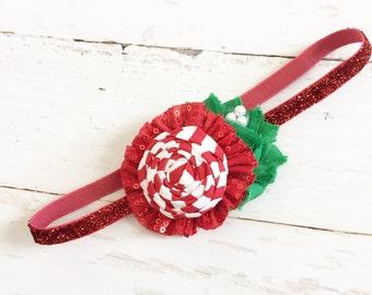 Red green white headband-sparkly candy cane peppermint stripe rosette headband-christmas holiday headband