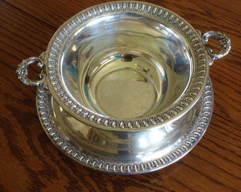 Wilcox Silver Plate Serving Bowl with Handles and Tray, Brandon Hall, IS