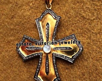 Estate Vintage 2.95cts Rose Cut Diamond Moonstone .925 Sterling Silver Jewelry Designer Cross Pendant