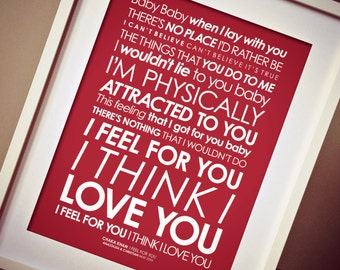 Chaka Khan 'I Feel For You' LYRICS print. Option to add PERSONALISED MESSAGE [Digital file, Print or Framed] Free delivery!