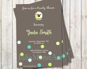 Sheep Baby Shower, Birth Announcement or Birthday Invitation, Digital Invitation, Printable Invite