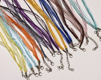 20 pcs 10 colors mixed Organza Ribbon Waxed Cotton Cord Necklace,mixed ribbon,mixed waxed cord necklace,mixed cord,assorted ribbon necklace