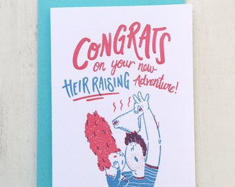 Heir Raising Affair, Baby Shower Letterpress Card