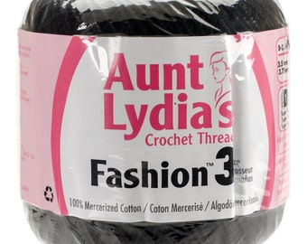 Black Crochet Thread size 3, Aunt Lydias Fashion, MoonDancer Crafts, Black Crochet Knitting Tatting Craft thread