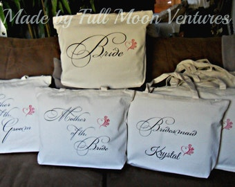 Canvas tote ,Bridal party  wedding day travel bag , 7 bags  with zipper top 18 x 14 x 4 with heart and roses