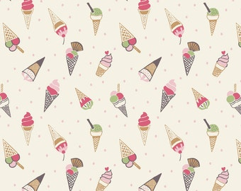 Lewis & Irene Patchwork Quilting Fabric Picnic in the Park A154.1 Ice cream cones on white