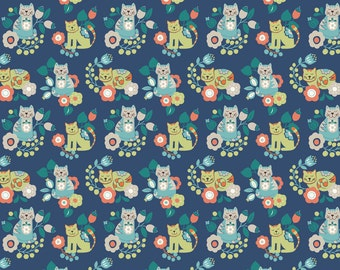 Lewis & Irene Patchwork Quilting Fabric Sam and Mitzi - A107-3 Contented cat Mitzi on dark blue