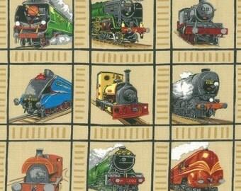 Patchwork Quilting Fabric Nutex Train Squares