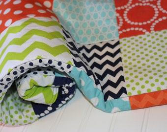 Baby Patchwork Quilt - Baby Quilt - Baby Blanket - Minky Patchwork, Aqua, Orange, Lime Green, Navy, Rainbow Dots, Chevrons, Baby Nursery
