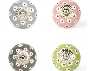 Drawer Knobs-Knobs-Cabinet Knobs-Dresser Knobs-Drawer Pulls-Ceramic Drawer Knobs-Floral