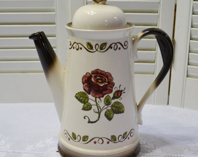Vintage Metlox Poppytrail Provincial Rose Coffee Pot with Lid California Pottery  Panchosporch