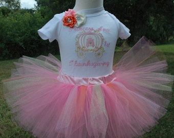 1st Thanksgiving Outfit,Pink and Gold 1st Thanksgiving Outfit, Princess Carriage Birthday Outfit, Personalized, Thanksgiving Princess Outfit
