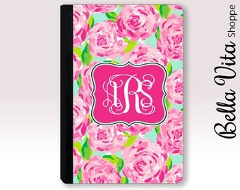 Personalized iPad Case, Monogrammed Pretty Pink Roses Floral Flowers Leather, 2003