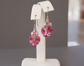 Pink Heart Earrings - Pink Swarovski Crystal Earrings