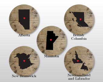 Canada Coaster Set - Canadian Province Map Drink Coasters - Rustic Home Decor - Custom Long Distance Friendship, Housewarming Gift
