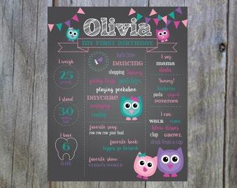 First Birthday Chalkboard- Owls