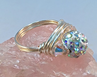 Crystal Wire Wrapped Ring| Swarovski Bicone Crystals| Bling Ring| Craft Wire Non Tarnishing Ring| Sterling Silver Crystal Bead Ring