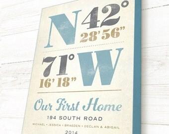 First Home Gift, Home Coordinates Canvas, GPS Art, Custom Canvas, Latitude Longitude Designs, Coordinates Sign
