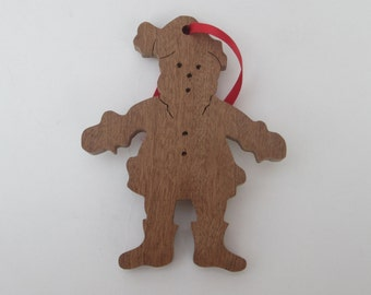 Father Christmas Tree Decoration - hand cut using a scroll saw  - cute tree/Christmas decoration