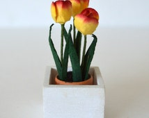 Flowers in a terracotta pot and planter_barbie size_playscale home decor_doll diorama tulips_dollhouse flowers_yellow-red tulips
