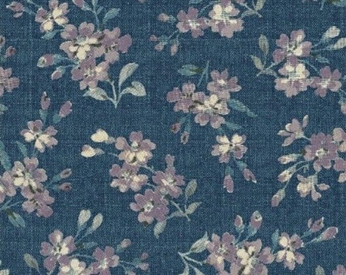 Half Yard Chambray Rose - Medium Floral in Blue - Cotton Quilt Fabric - Nancy Gere for Windham Fabrics - 40827-1 (W3432)