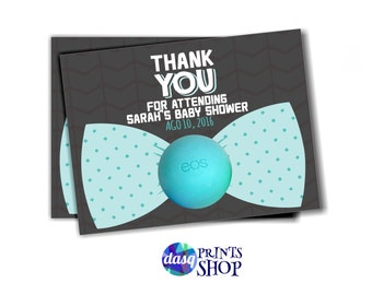 Bow Tie Baby Shower Favors for EOS lip balm gifts Little Man Baby Shower tag - Onesie Invitation