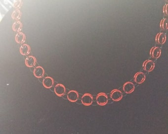 Orange and Black Chainmail Necklace and Bracelet