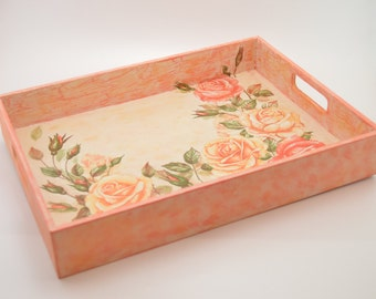 Wooden decoupage tray, wooden tray, decoupage tray, shabby chic tray, roses decoration, floral tray, artificially aged, shabby chic