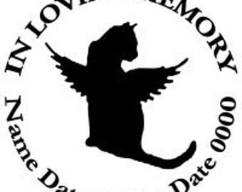 In Loving Memory Round Cat Kitten Kitty Angel Wings Vinyl Decal Sticker