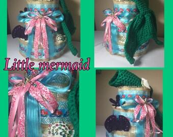 Newborn mermaid baby diaper cake including mermaid tail, shell bra abd headband