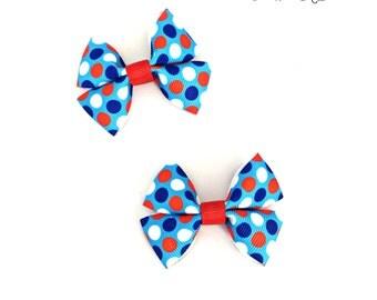 Patriotic Hair Bow, Patriotic Hair Clip, Patriotic Baby Bow, Patriotic Hairbow, Patriotic Baby, Red White Blue Bow, Polka Dot Hair Bow