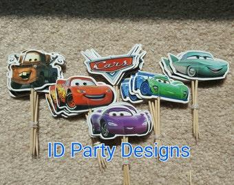 DISNEY CARS CUCPAKE Toppers Lightning McQueen Cupcake Topper Mater Cupcake topper Flo cupcake topper Food Picks