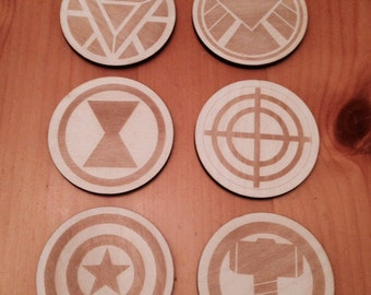 Marvels Avengers Wood Drink Coasters Set of 6 Thor, Black Widow, Iron Man, Shield, Hawkeye, Captain America