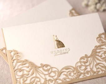 Gorgeous Lace Cut-out Personalized & Customized Wedding Invitations Card In Gold