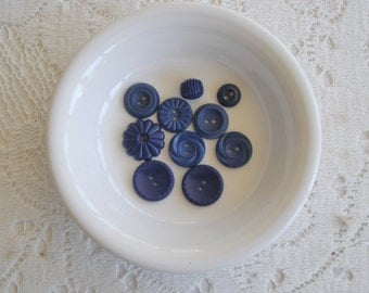 Ten Royal Blue Vintage Buttons