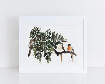 two little birds watercolor art print