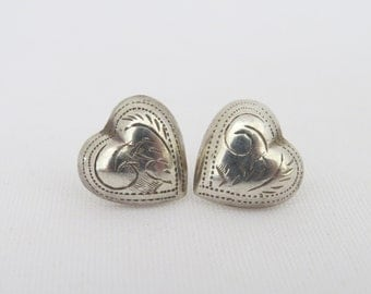 Vintage Sterling Silver Carved Puffy Heart Earrings