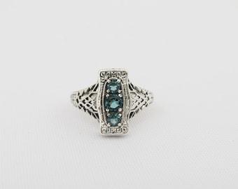 Vintage Sterling Silver London Blue Topaz Filigree Ring Size 7.75