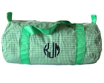 Monogrammed Kids Duffle Checked | Monogram Kids Travel | Mothers Day Out Bag | Overnight Kids Bag | Gifts for Kids | Monogrammed School