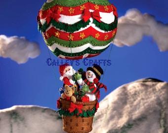 Bucilla Up, Up & Away ~ 3D Felt Hanging Decor Kit #86153 Santa, Frosty, Balloon DIY