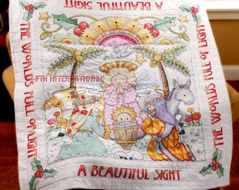 Bucilla Stamped Cross Stitch Beautiful Sight Lap Quilt Kit #86192 Xmas Nativity DIY