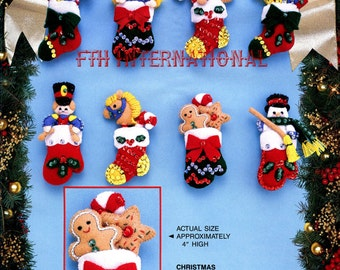 Bucilla Christmas Surprises ~ 8 Pce Felt Ornament Kit #83022 Stockings, Mittens DIY