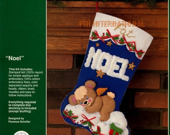 "DIY Bucilla Noel ~ 18"" Felt Christmas Stocking Kit #32922 Teddy Angel Sleeping Stars"