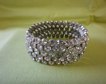 Vintage Clear Rhinestone Women's Expansion Bracelet