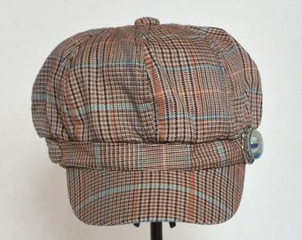 Brown/Blue Plaid Cabbie/Newsboy Cap with Dragofly embellishment