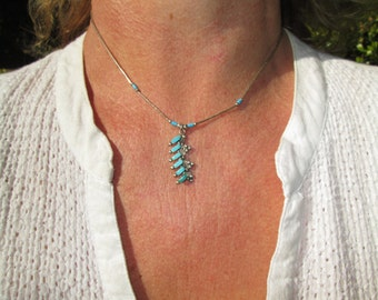 Needle Point Turquoise and Sterling Pendant Necklace